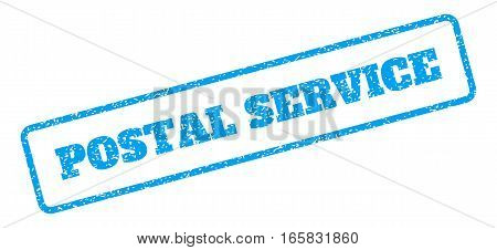 Blue rubber seal stamp with Postal Service text. Vector tag inside rounded rectangular frame. Grunge design and scratched texture for watermark labels. Inclined blue sticker on a white background.