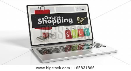 3D Rendering Online Shopping On A Laptop's Screen