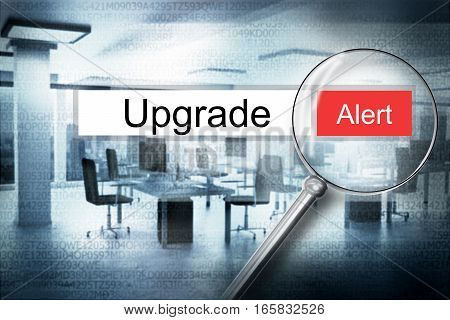 searching upgrade in address bar with magnifier alert 3D Illustration