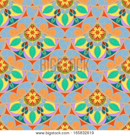 Seamless Pastel Color Floral Mandala Pattern. Seamless pattern for your design, invitation card, meditation, astrology, fabric and other wrapped projects.