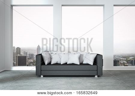 grey couch in modern luxury; apartment huge window with panoramic view 3D Illustration