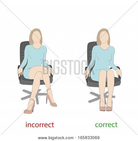 correct and incorrect posture sitting on a chair. medical advice. vector illustration.