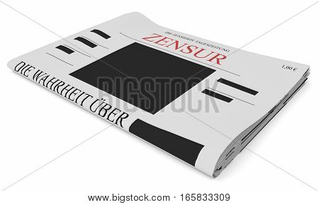 Censorship In Germany Concept: Newspaper 3d illustration on white background