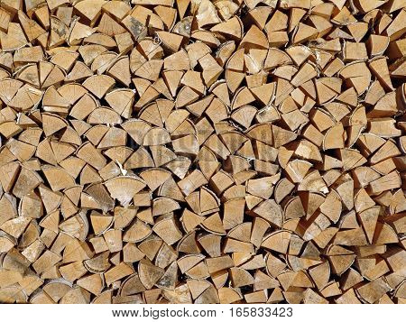 the ends of the wood for kindling the stove lay in rows