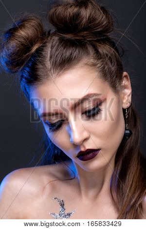 Portrait Of A Girl With Eyes Closed