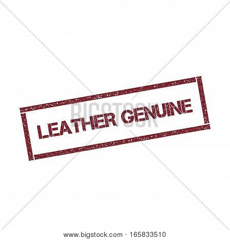 Leather Genuine Rectangular Stamp. Textured Red Seal With Text Isolated On White Background, Vector