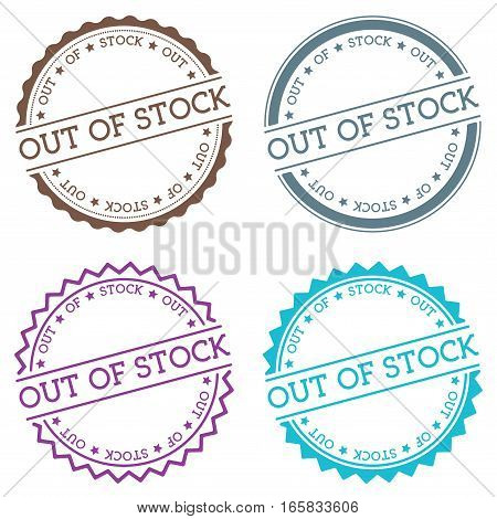 Out Of Stock Badge Isolated On White Background. Flat Style Round Label With Text. Circular Emblem V