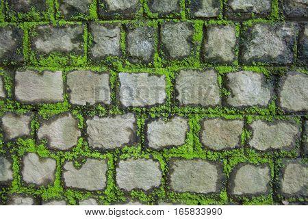 masonry stones on the road texture background