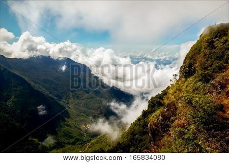 Mountains with clouds. Plateau