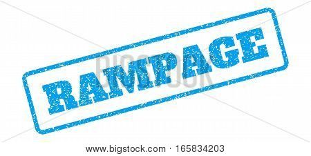 Blue rubber seal stamp with Rampage text. Vector tag inside rounded rectangular shape. Grunge design and dust texture for watermark labels. Inclined blue sticker on a white background.