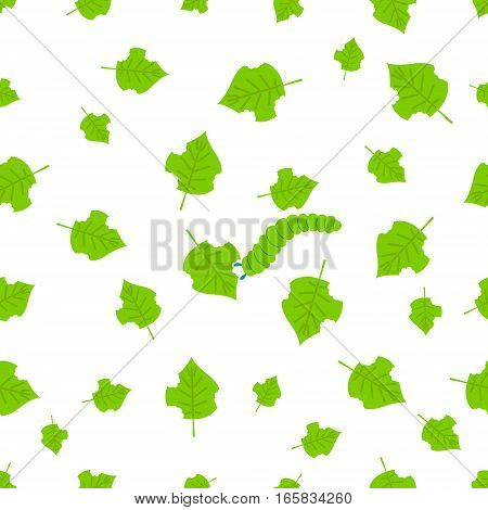 Seamless pattern of damaged leaves and a slug on white background. Parasitic beetle concept. Perfect for exterminator service companies. Vector illustration.