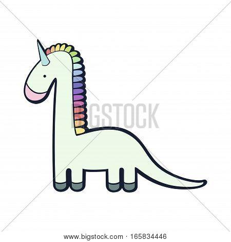 Unicorn + dinosaur character  funny colorful imagination vector illustration