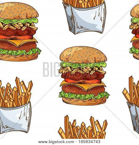 Fast food pattern with taco. Hand draw retro illustration. Vintage design.