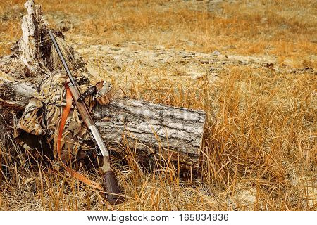 Autumn hunting season. Hunting Conceptual background. Outdoor sports.