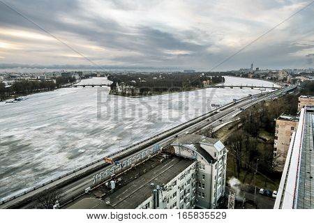 Saint-Petersburg .Russia.1 january 2017.The view from the heights on the river Neva and Ushakovskaya the Embankment in the winter time in St. Petersburg.