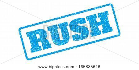 Blue rubber seal stamp with Rush text. Vector caption inside rounded rectangular banner. Grunge design and unclean texture for watermark labels. Inclined sign on a white background.