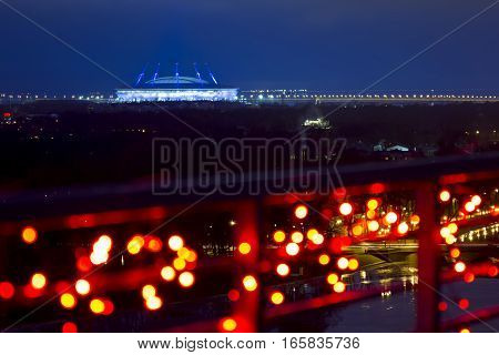 Saint-Petersburg .Russia.December 31 2016.The view from the heights on the Zenit arena in the evening lights in St. Petersburg.