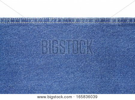Texture of blue jeans fabric with yellow double stitching isolated on white