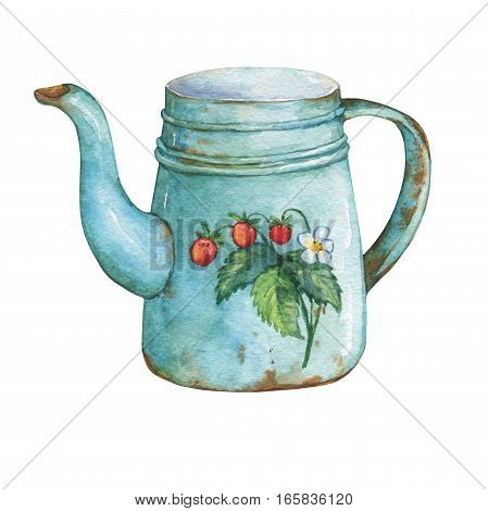 Vintage blue metal teapot with strawberries pattern. Hand drawn watercolor painting on white background.