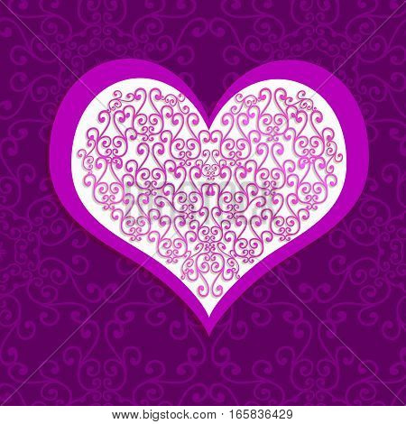 Pink with white lace heart on purple background - romantic symbol of love. Illustration to Valentine's day
