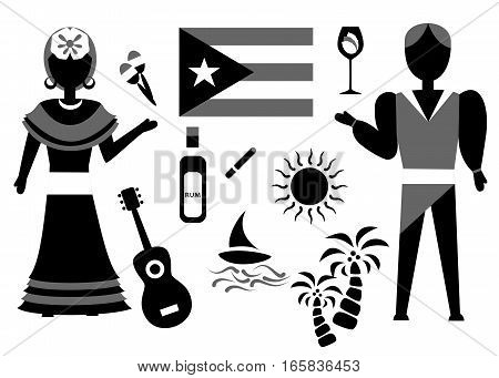 set in the style of a flat design on the theme of cuba.