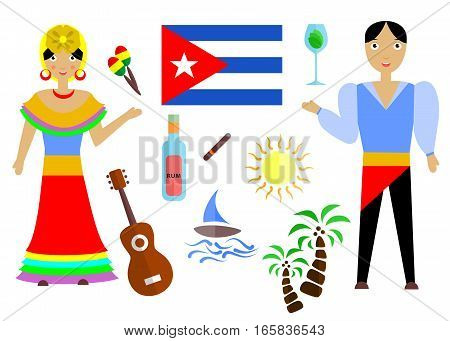 set in the style of a flat design on the theme of cuba. poster