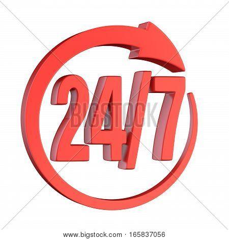 24/7 Circle Arrow Sign 3D