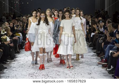 KYIV, UKRAINE - OCTOBER 13, 2016: Models walk the runway at Yana Belyaeva collection show during the 39th Ukrainian Fashion Week at Mystetsky Arsenal in Kyiv