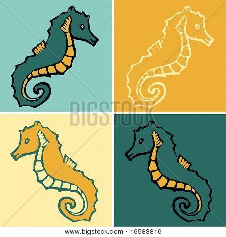 animal drawing - seahorse poster