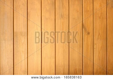 Fence from brown wooden vertical planks as background closeup
