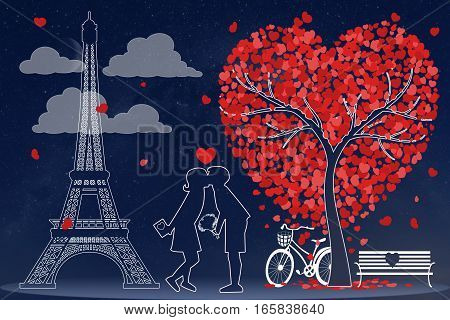 Couple in love in front of Eiffel tower in Paris silhouette. Illustration