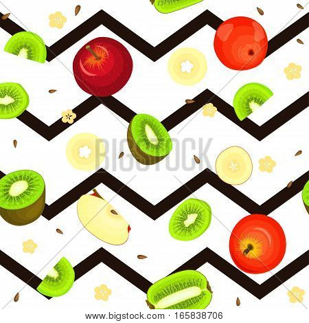 Seamless vector pattern of ripe kiwi apple fruit. Striped zig zag background with delicious juicy kiwifruit apple slice half. Vector fruits Illustration for printing on fabric textile, packaging