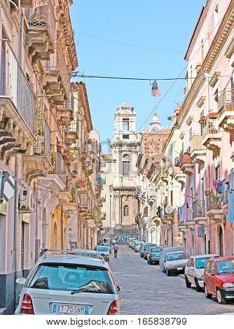 The Old Street In Catania