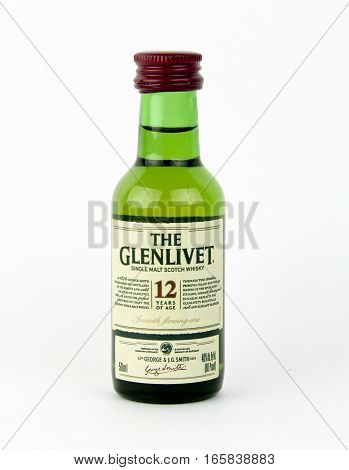Spencer Wisconsin January192016 Mini bottle of 12 year old Glenlivet Scotch Whisky The Glenlivet is based in Scotland and was founded in 1824