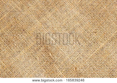 Closeup of Texture Natural sackcloth for background. Eco friendly. Copy space for text and other web or print design elements.
