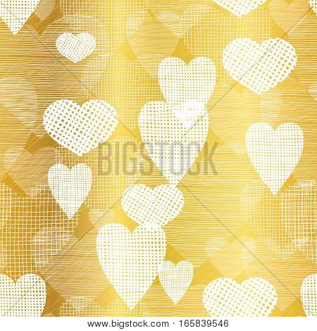 Vector Golden White Hearts Textile Texture Seamless Pattern Background. Great for elegant gold texture fabric, cards, wedding invitations, wallpaper.Surface pattern design.