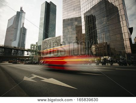 Skyscrapers with glass facade. Modern buildings in Paris business district. Concepts of economics financial future. Copy space for text. Dynamic composition
