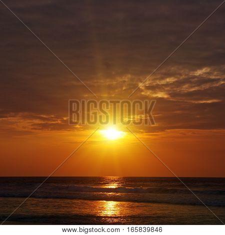 Fantastic sun rise on the  beautiful ocean