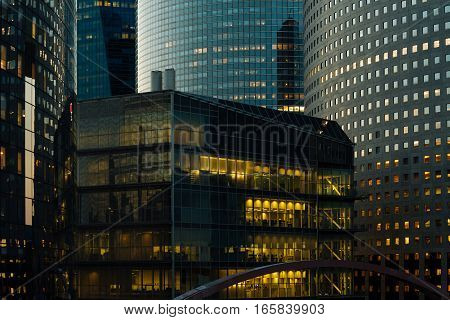 Night Architecture - Skyscrapers With Glass Facade. Modern Buildings In Paris Business District. Eve