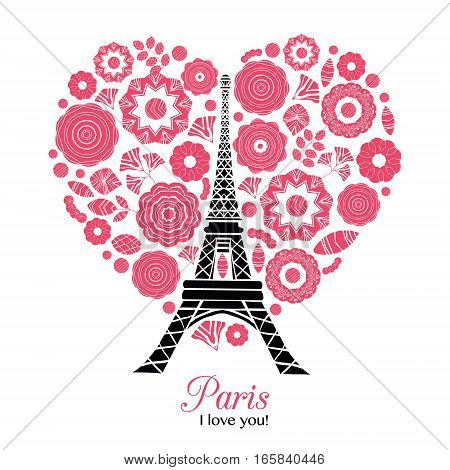 Vector Paris Eifel Tower Bursting With St Valentines Day Red Hearts Of Love. Great for travel themed postcards, greeting cards, wedding invitations, products, bags, accessories, luggage, clothing.