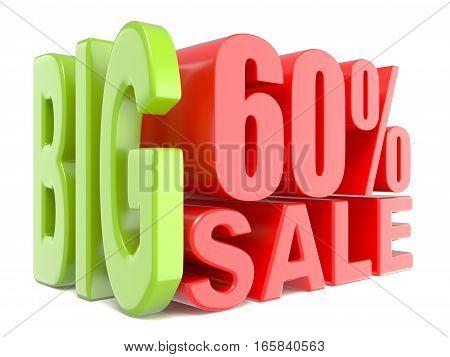 Big Sale And Percent 60% 3D Words Sign