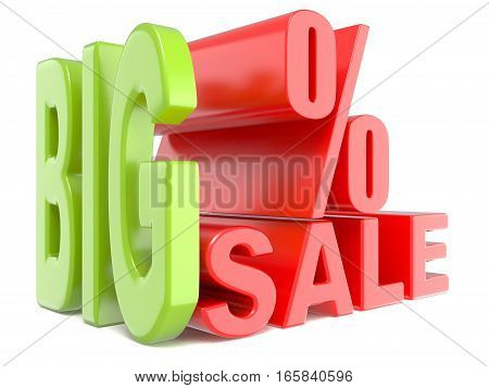 Big Sale And Percent Sign % 3D Words Sign.