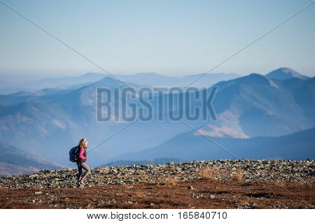 Beautiful Female Hiker Enjoying Beautiful Nature Landscape
