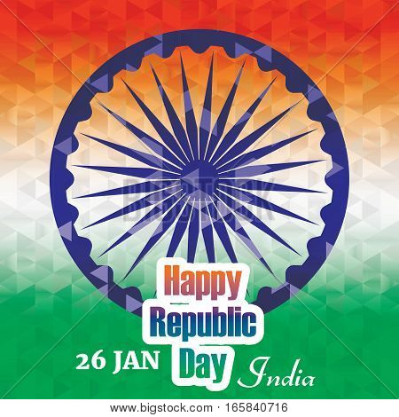 Indian Republic day banner and greetings with tricolor design
