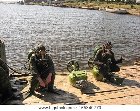The diver-scout military preparation in natural reservoirs.