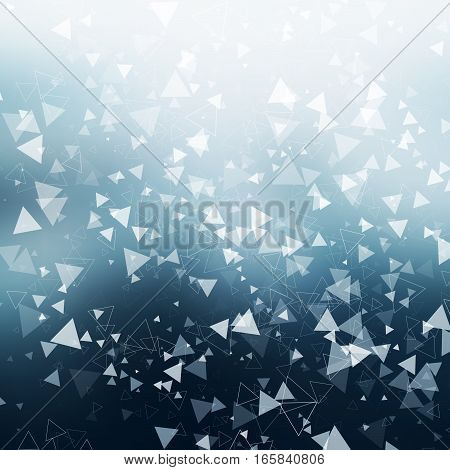 Abstract Background With White Falling Geometric Shapes.