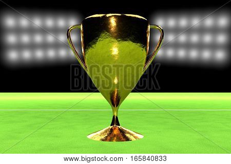 Realistic Golden Cup Over Grass Field