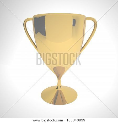 Golden Cup Over White Background