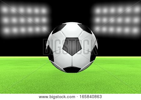 Soccer Ball Over Field With Stadium Lights On The Back