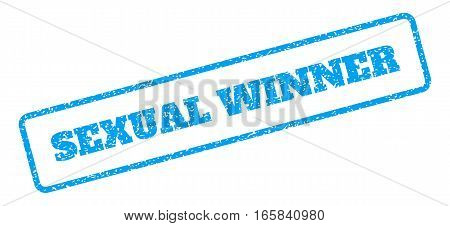 Blue rubber seal stamp with Sexual Winner text. Vector caption inside rounded rectangular frame. Grunge design and scratched texture for watermark labels. Inclined blue sticker on a white background.
